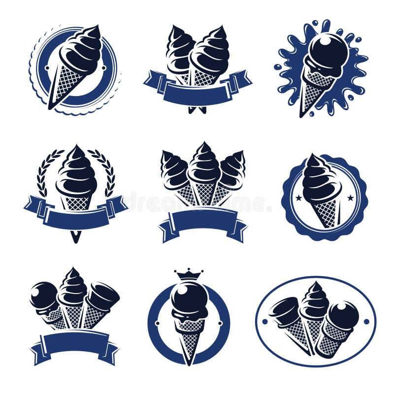 Label et icônes de crème glacée réglés Vecteur illustration stock