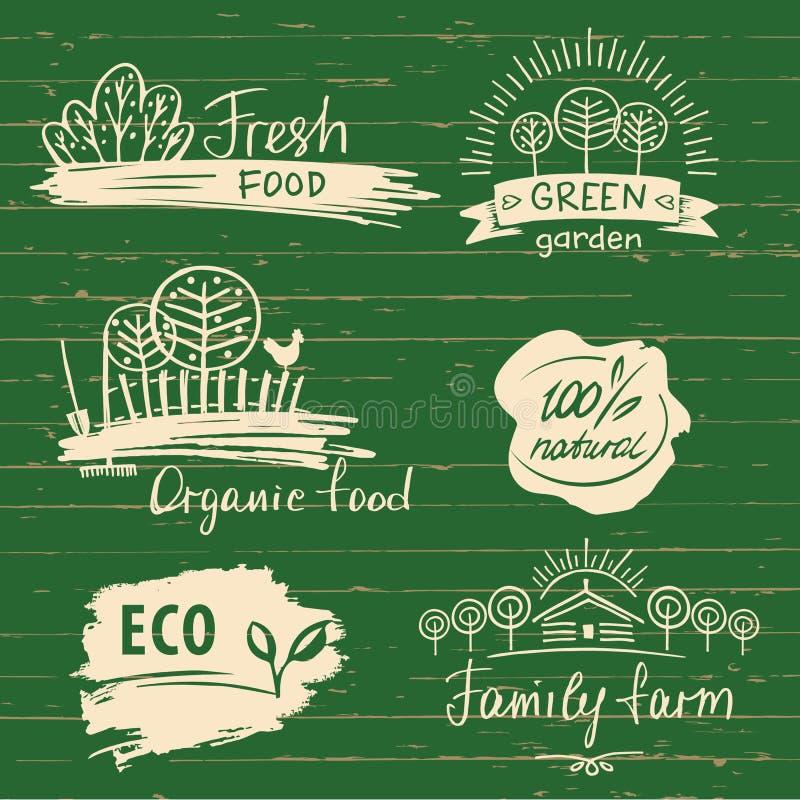 Label et logos d'aliment biologique réglés Label et logo frais de ferme illustration de vecteur