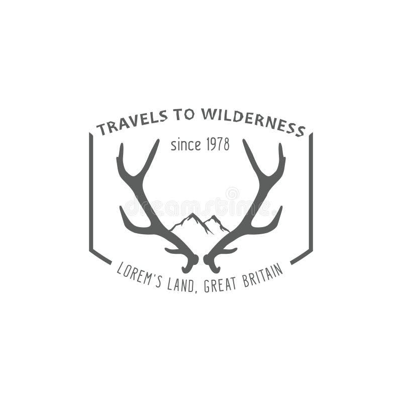 Label extérieur de vintage, voyage à la région sauvage illustration de vecteur