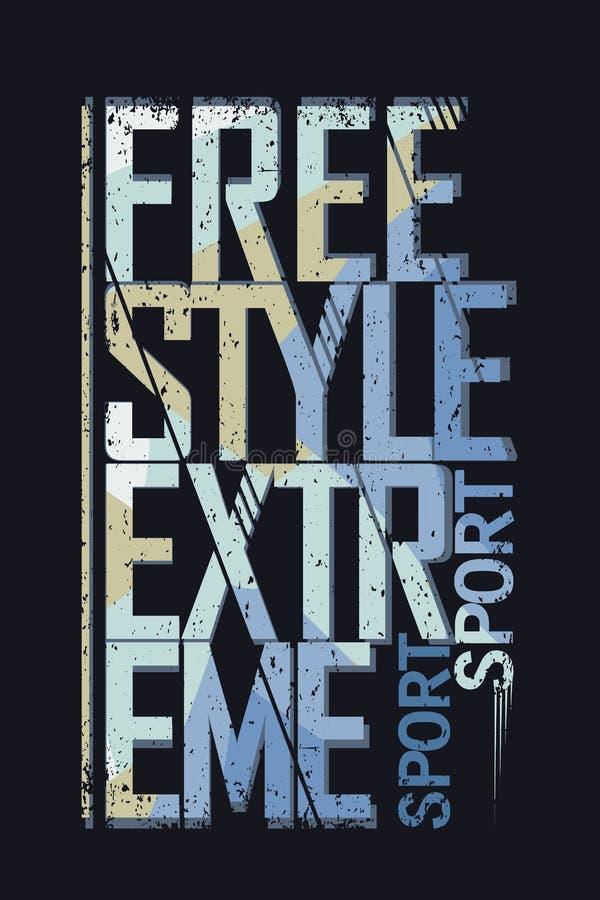 Label extrême de typographie de style libre de sport illustration de vecteur