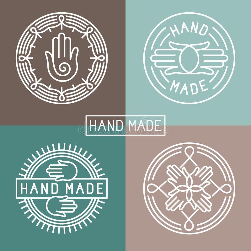 Label fabriqué à la main de vecteur dans le style à la mode d'ensemble illustration de vecteur