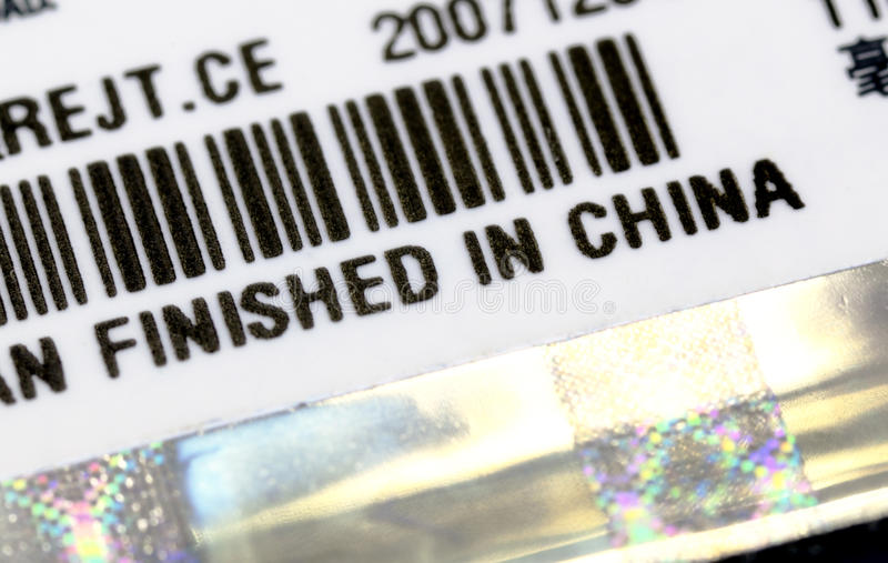 Download A Label With Finish In China Title Stock Photo - Image: 32426136