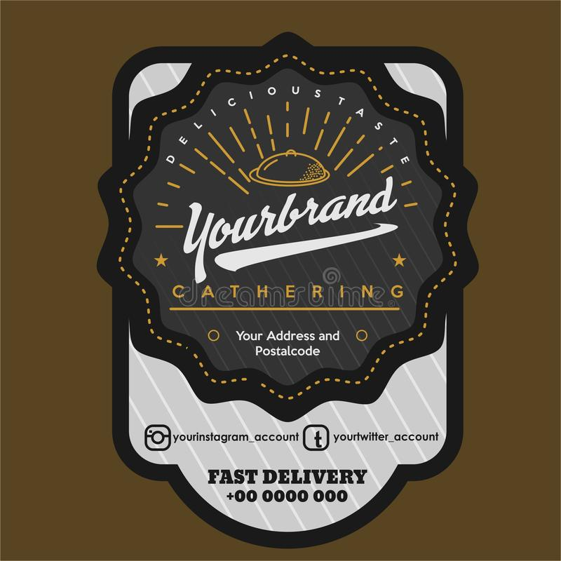Label for food brand vintage. Graphics designs vector for your food and beverage business, dark chocolate and dark grey to be match and exclusive for middle and vector illustration
