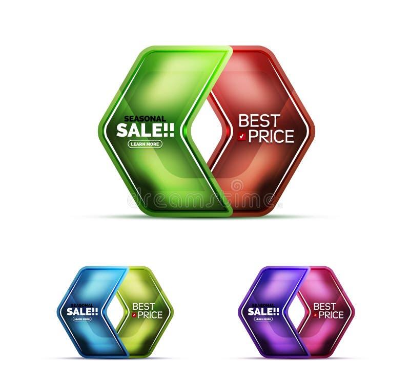 Label géométrique en verre brillant de Web de vente des prix de flèche, icône réaliste illustration stock