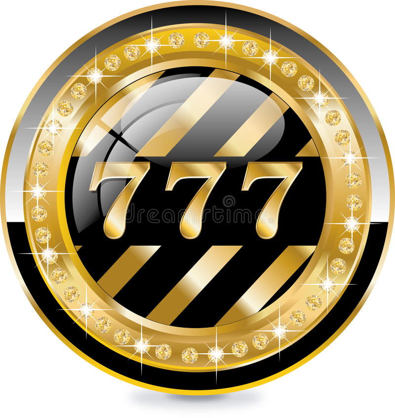 777 label. With golden elements and brilliants stock illustration