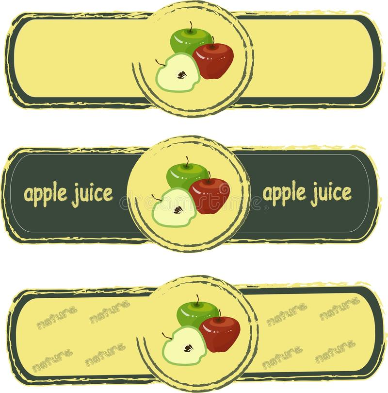Label. Green and red apples on yellow background, painted, dark green fram. E. Healthy food, fruit, juice, organic, packaging design, product packaging, product stock illustration