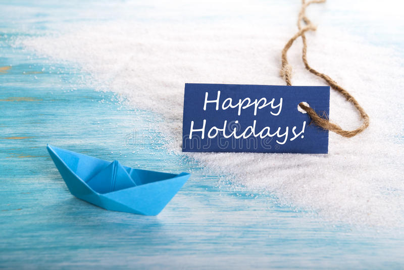 Label with Happy Holidays and Boat stock image