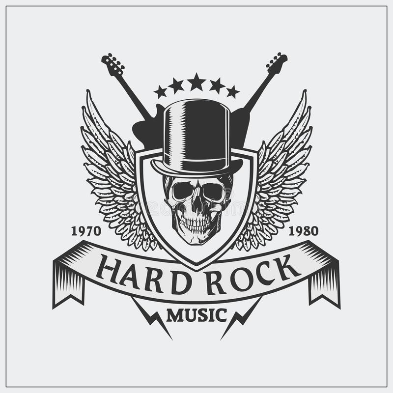 Label on hard rock with a Jolly Roger vector illustration