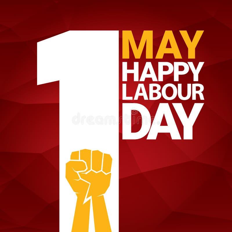 Label heureux de vecteur de jour de travail avec le poing orange fort sur le fond rouge fond ou bannière de Fête du travail avec  illustration libre de droits