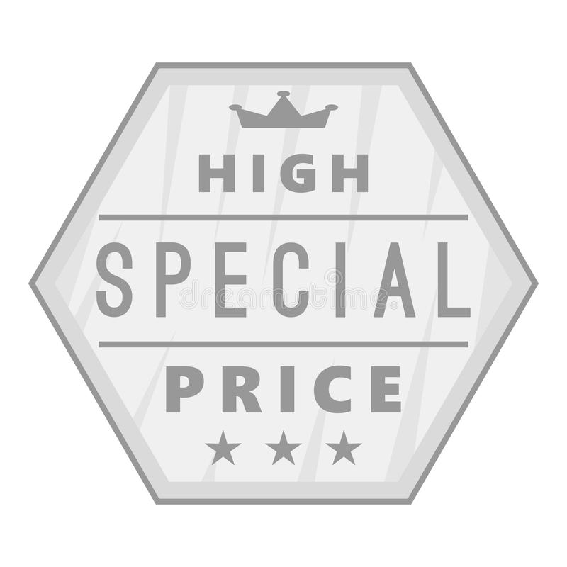 Label high special price icon. Gray monochrome illustration of  for web vector illustration