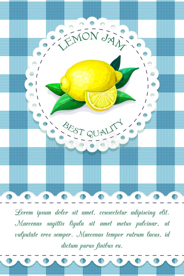 Label with juicy ripe lemon on chequered backdrop in retro country style for product package design. vector blue and. White plaid background with citrus fruits stock illustration