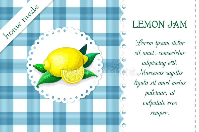 Label with juicy ripe lemon on chequered backdrop in retro country style for product package design. vector blue and white plaid. Background with citrus fruits vector illustration