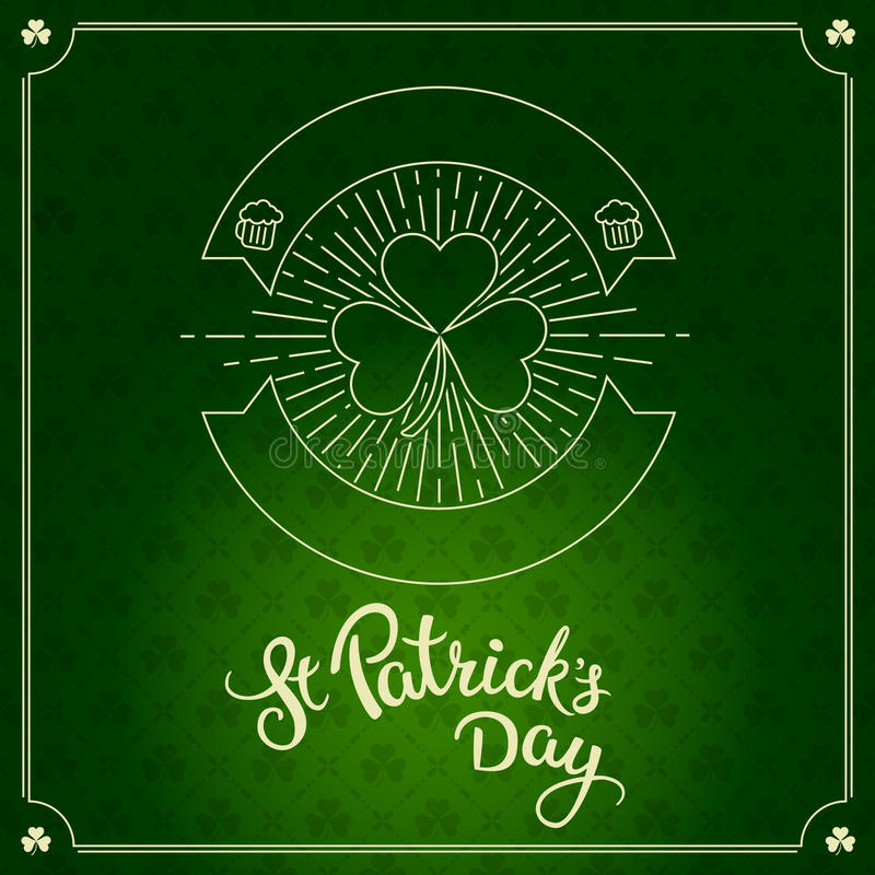 Label in linear style and original lettering St. Patricks Day vector illustration