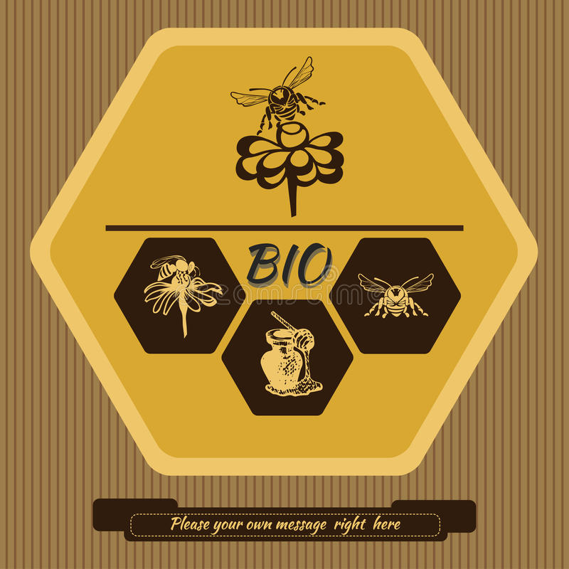 Bee Farm Vintage Isolated Label:  Label Logo For Advertising And Selling Honey 4 Stock