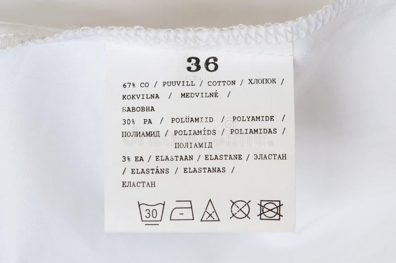 Label washing instructions royalty free stock photo