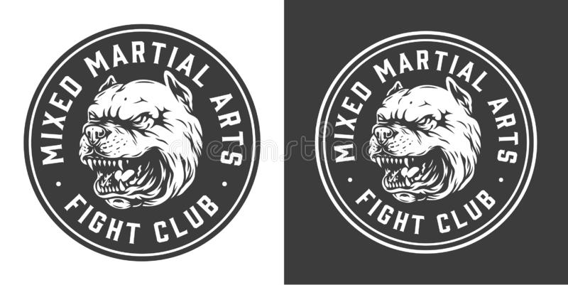 Label monochrome de rond de club de combat de cru illustration libre de droits