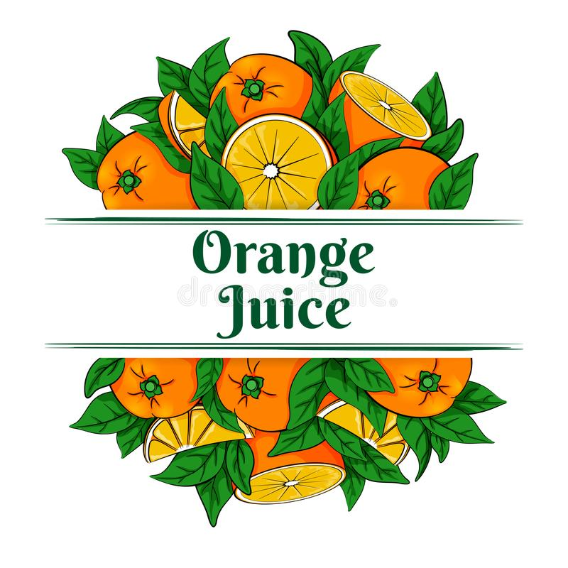 Label for orange juice with oranges. Vector illustration of two groups of fresh ripe oranges and green leaves on a white background royalty free illustration