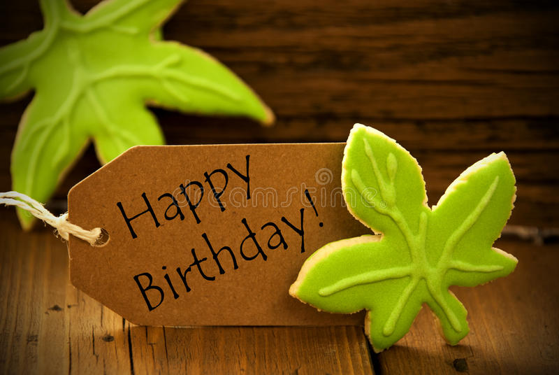 Label organique de Brown avec le joyeux anniversaire des textes anglais image libre de droits