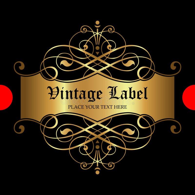 Label ornemental de luxe d'or - conception de vecteur illustration de vecteur