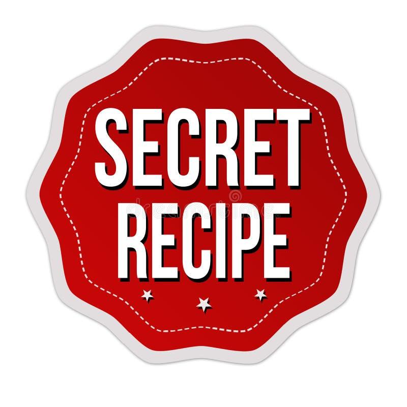 Label ou autocollant secret de recette illustration stock