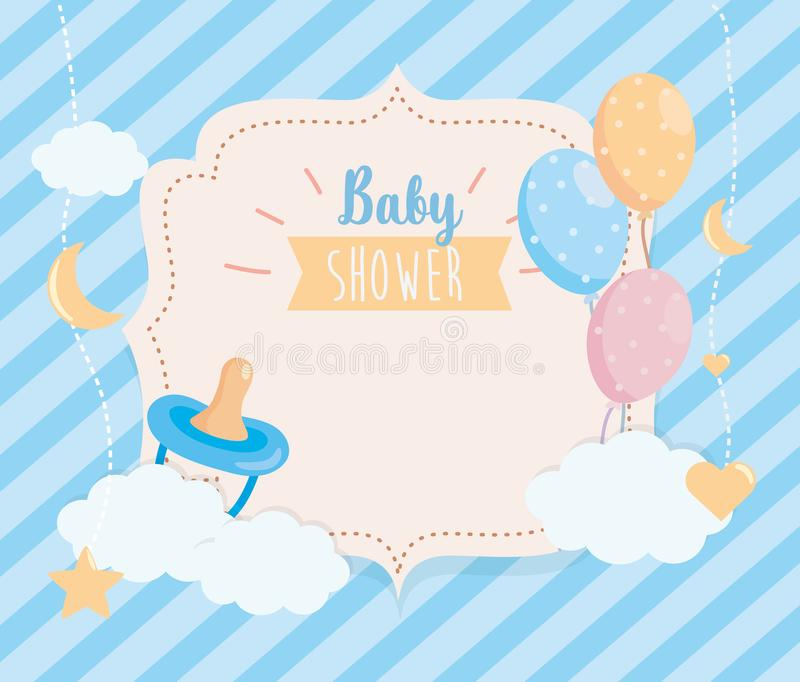Label of pacifier with balloons and clouds decoration vector illustration