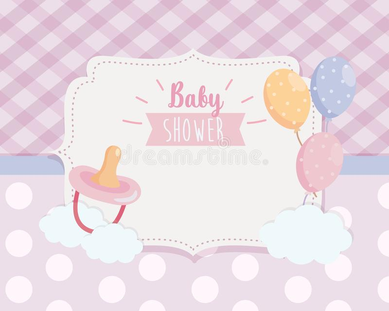 Label of pacifier with balloons and ribbon decoration vector illustration