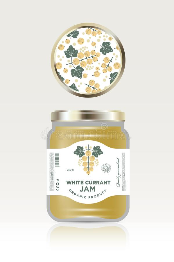Label and packaging of white currant jam. Can lid jar with fruit pattern. The flat original illustration and texts on the minimalist label on the jar royalty free illustration