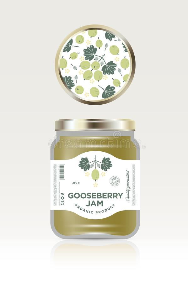 Label and packaging of white gooseberry jam. Can lid jar with fruit pattern. The flat original illustration and texts on the minimalist label on the jar royalty free illustration
