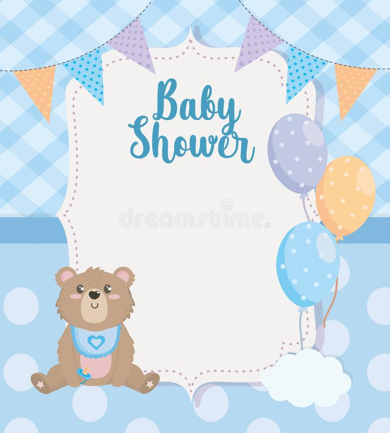 Label of party banner with teddy bear and balloons stock illustration