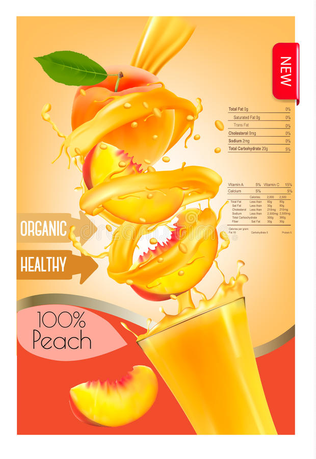 Label of peach juice splash in a glass. Desing template. Vector vector illustration