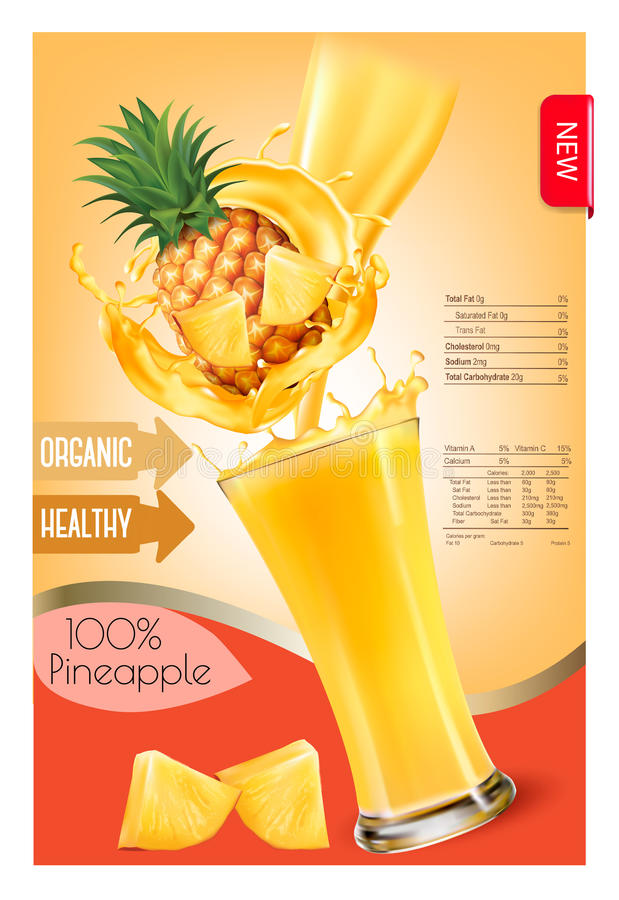 Label of pineapple juice splash in a glass. Desing template. Vector royalty free illustration