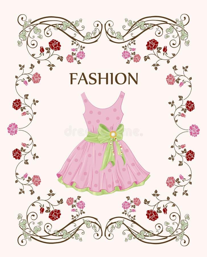 Label with pink dress. Vintage label with pink dress vector illustration