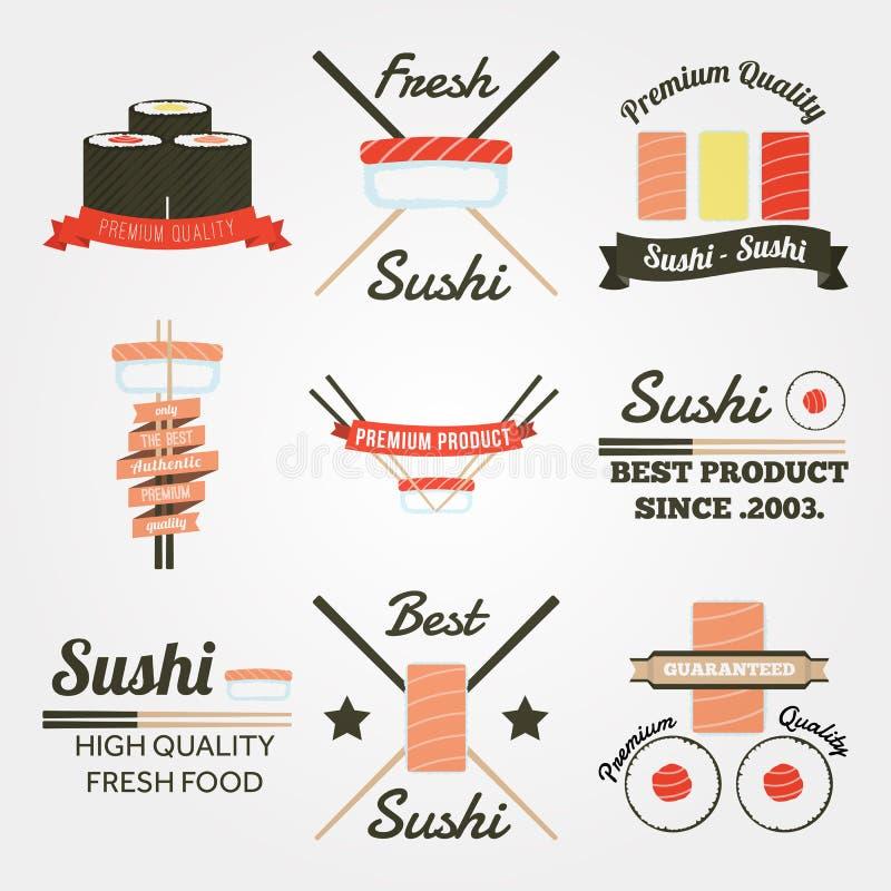 Label plat de vintage de conception de sushi illustration stock