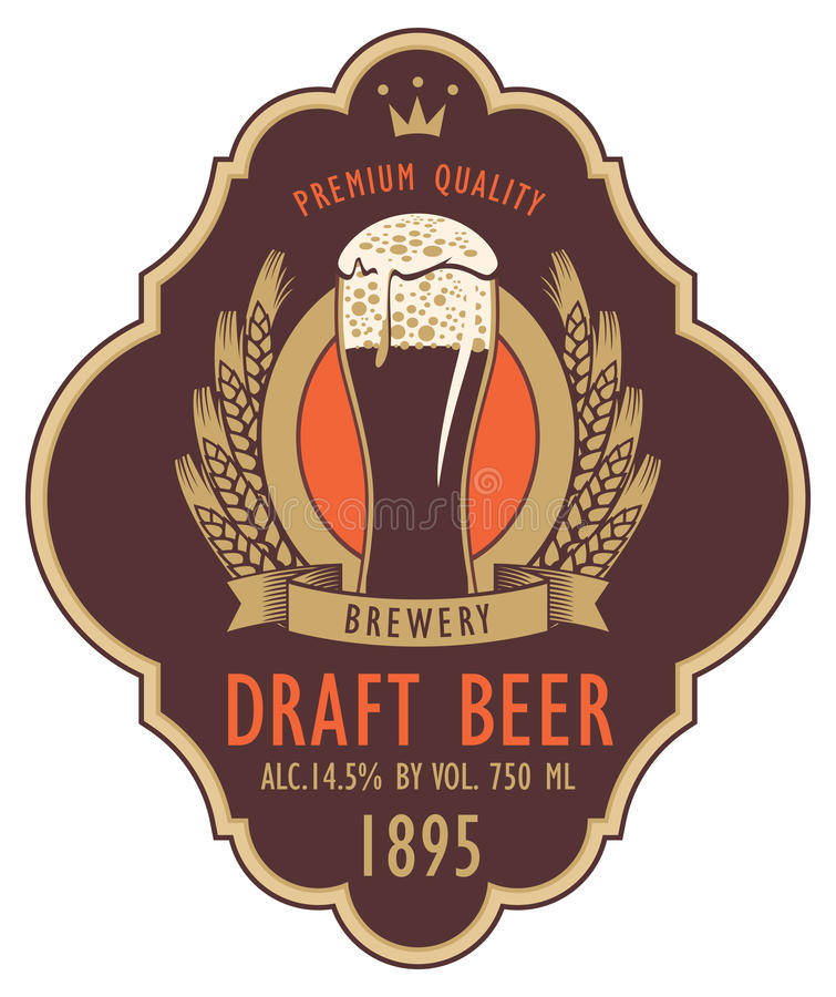 Label pour la bière pression avec le verre et le manteau des bras illustration libre de droits