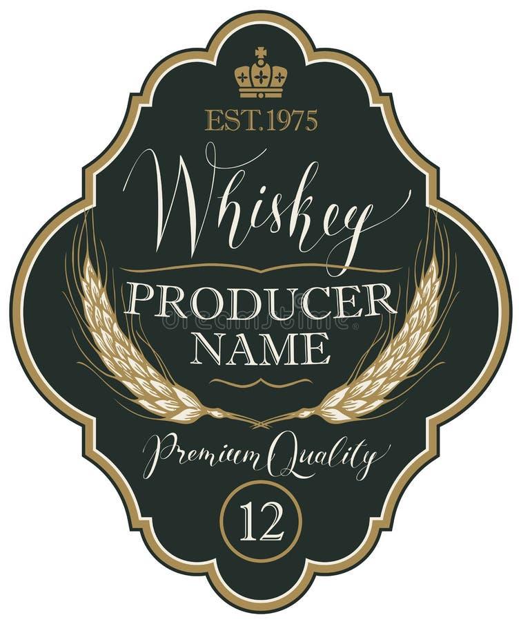 Label pour le whiskey avec des oreilles d'orge illustration stock