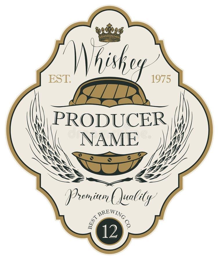 Label pour le whiskey avec des oreilles d'orge et de baril illustration libre de droits
