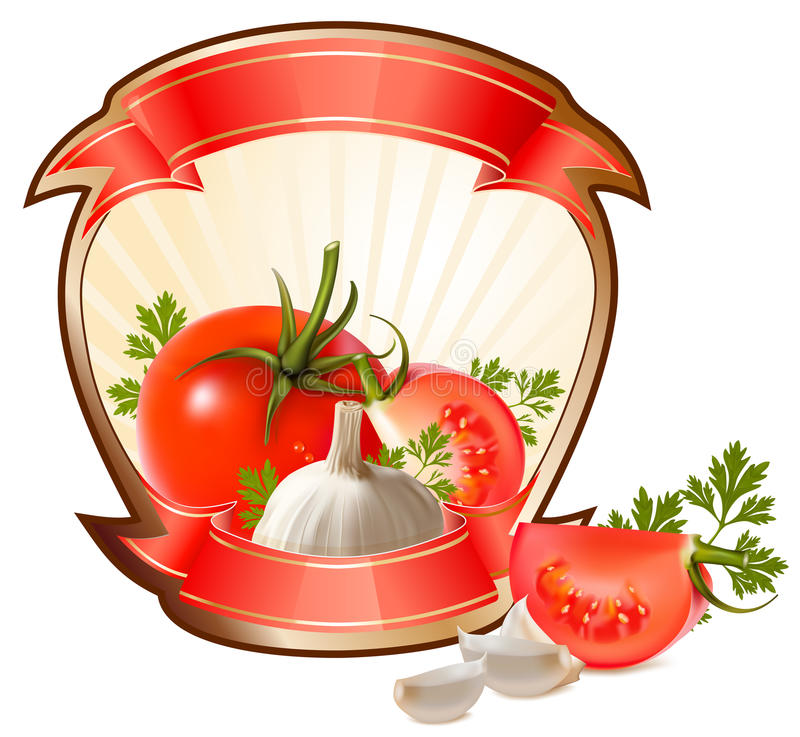 Label for a product (ketchup, sauce). With photo-realistic illustration of vegetables stock illustration