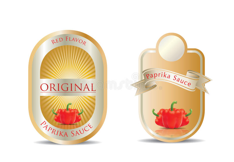 Label for a product (ketchup, sauce). With photo-realistic vector illustration of vegetables royalty free illustration