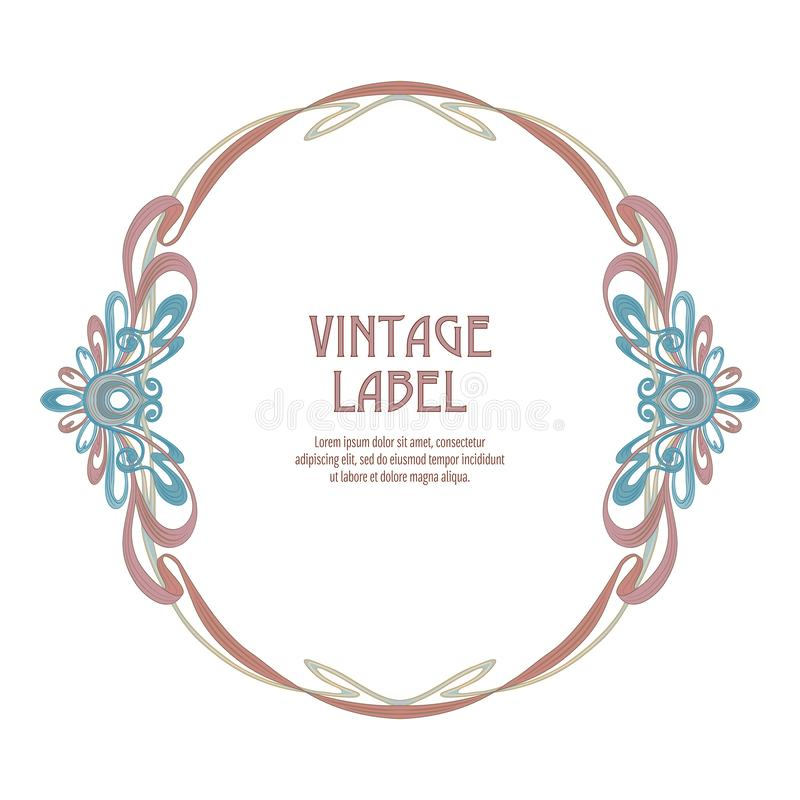 Label for products or cosmetics in art nouveau style, vintage, old, retro style.n stock illustration