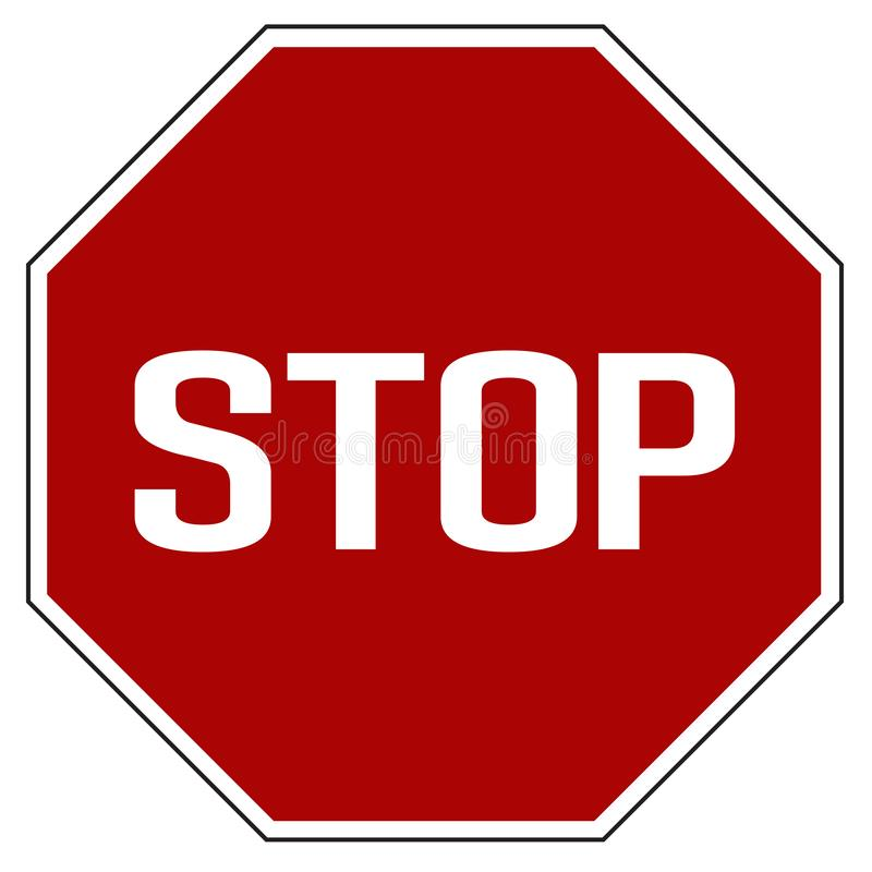 Label Red realistic stop road sign isolated vector royalty free stock photography