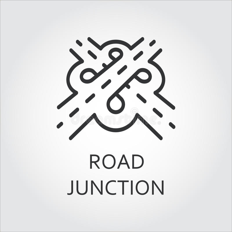 Label of road junction, icon drawn in outline style royalty free illustration