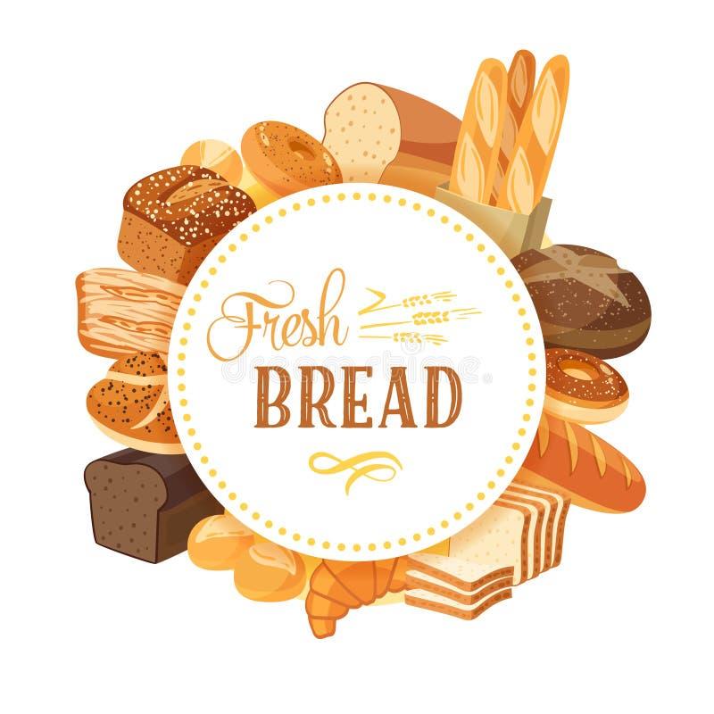 Label rond avec l'assortiment de pain : seigle, ciabatta, blé, grain entier, bagel, baguette coupée en tranches et française, cro illustration libre de droits