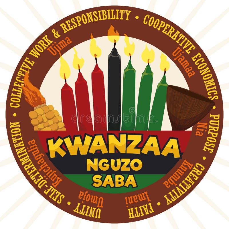 Label rond avec les éléments et les principes traditionnels pour la célébration de Kwanzaa, illustration de vecteur illustration de vecteur