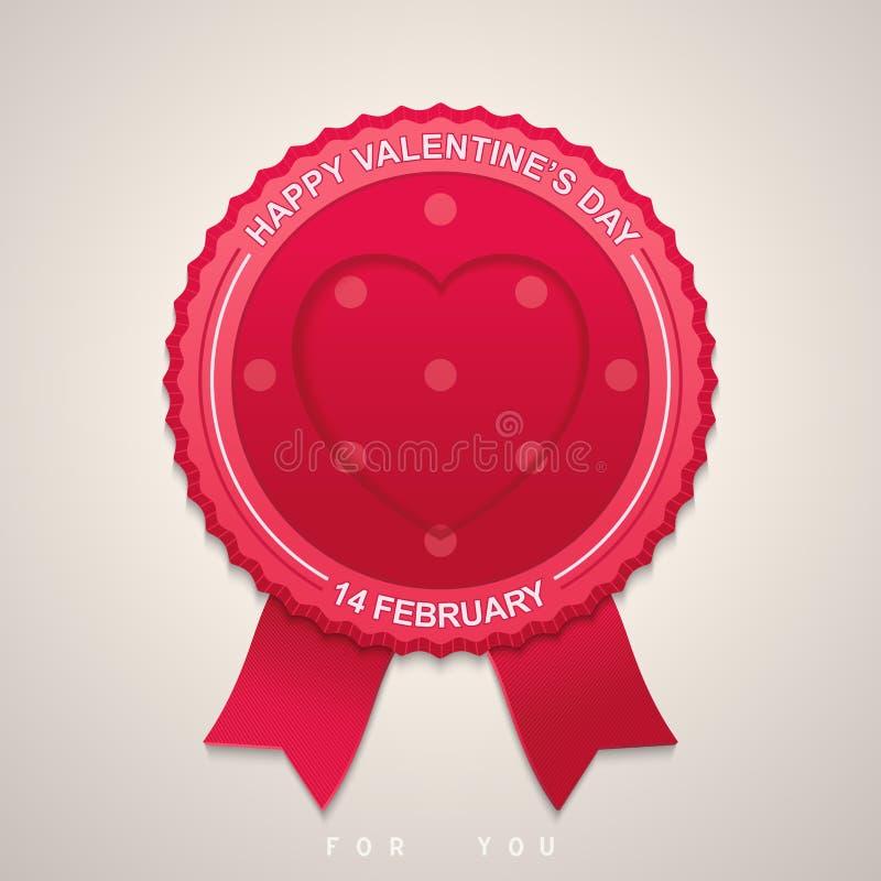 Label rond pour la Saint-Valentin illustration stock