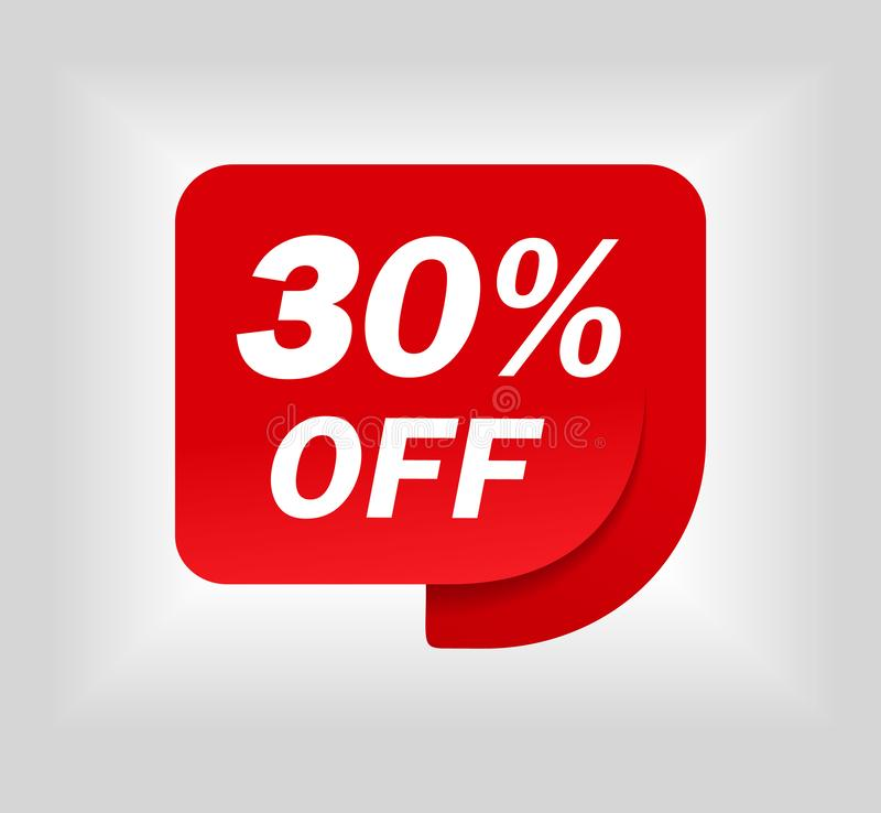 Label sale of special offer. Red promo sticker of discount. Icon tag for retail. Red label for sale 30. Special offer sticker for. Retail, shop, business vector illustration