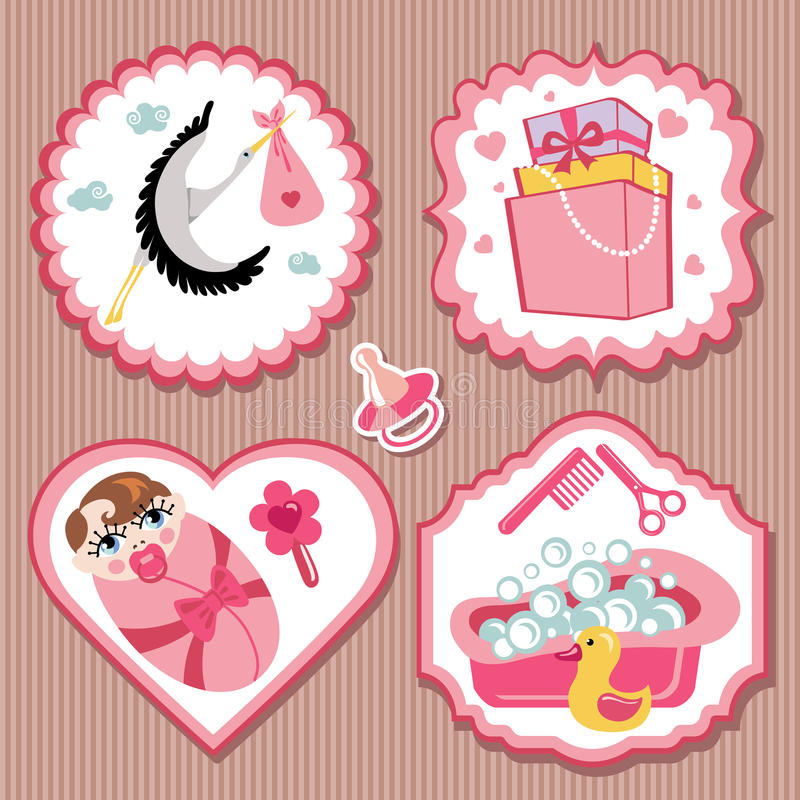 Label set with items for European newborn baby girl vector illustration
