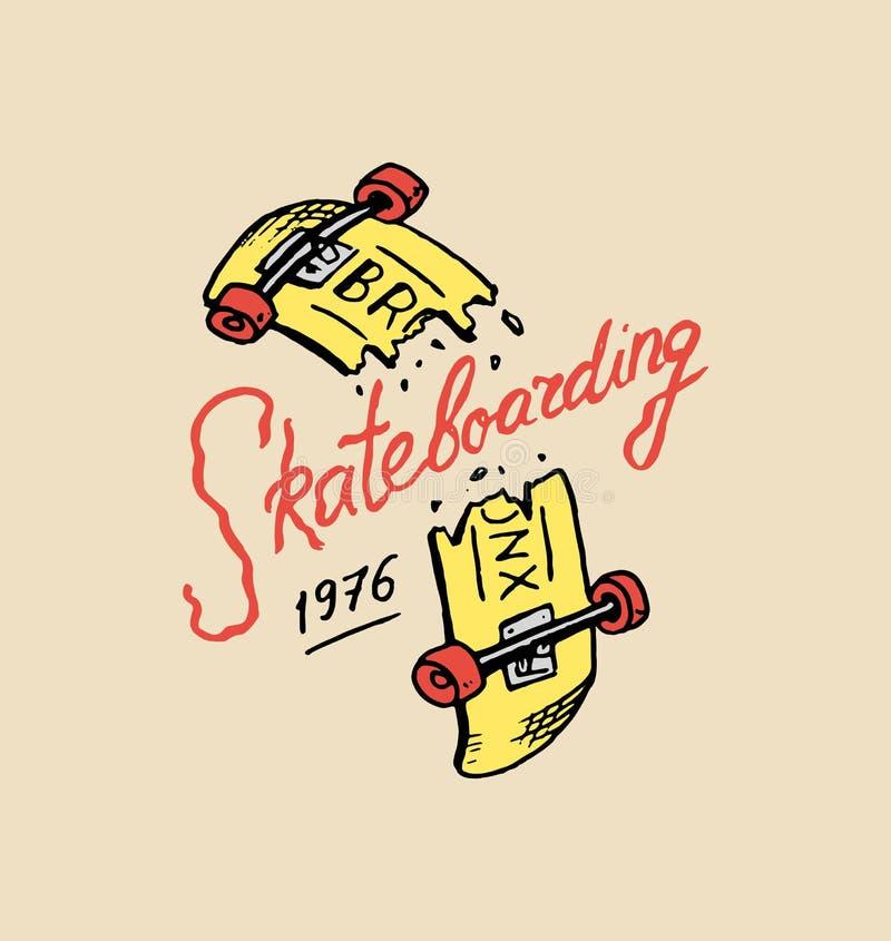 Label for Skateboarding. Urban longboard for Skater. Urban broken board. badge emblem t-shirt typography. engraved hand vector illustration