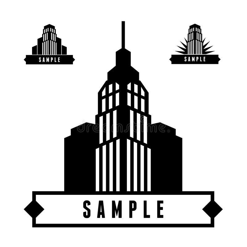 Label with skyscraper. Monochrome geometric label with skyscraper stock illustration
