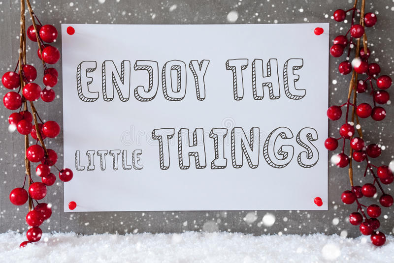 Label, Snowflakes, Christmas Decoration, Quote Enjoy The Little Things vector illustration