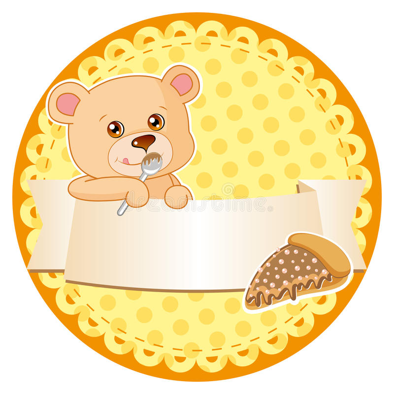 Download Label with teddy bear stock vector. Image of orange, animal - 20383676